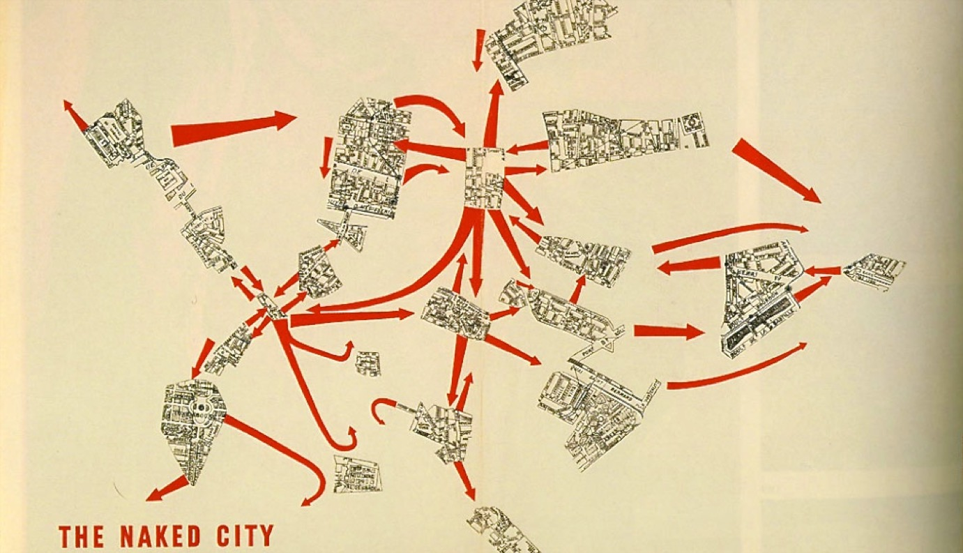 The Naked City by Guy Debord - A psychogeographical map of Paris