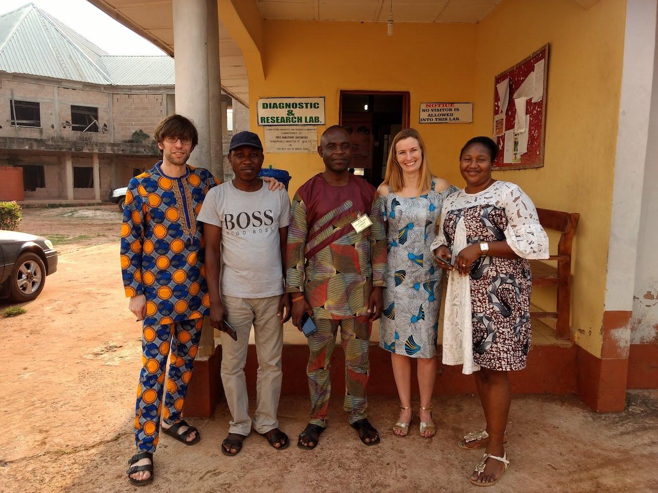 Wearing traditional Nigeran dresses. Right to left: Eghosa Uyige, Kayla Barnes, Ikponmwosa Odia, John Aiyepada, and myself