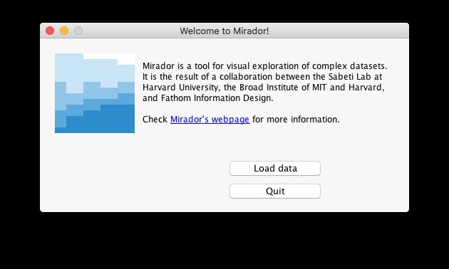 Mirador 1.4.2 launch screen